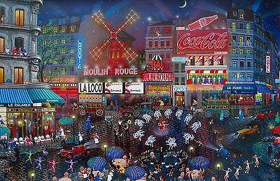 "ALEXANDER CHEN ""MOULIN ROUGE PARIS"" Hand Signed Serigraph Art on Canvas"