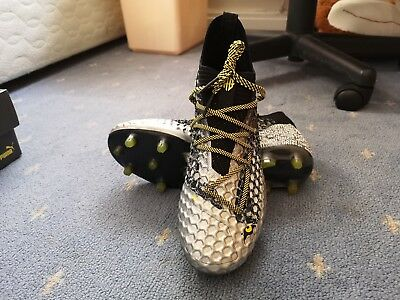 e2d222429c8 Puma Future 18.1 Netfit Griezmann FG AG Black Silver Yellow Football Boots  UK