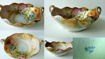"Rare Antique Nippon Bowl - Hand Painted Roses - Gilded Handles - Large 10""L"