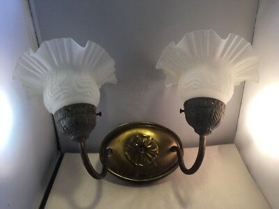 Vintage Brass 2 Light Double Light Wall Sconce With Shades