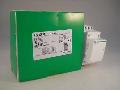 Schneider Contactor 25 Amp 4 Pole 240VAC Coil N/C Acti 9 25A iCT A9C20837 NEW