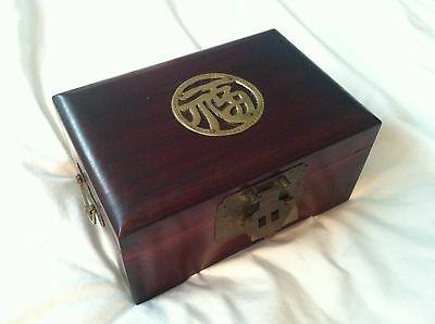 Vintage Asian Wood Jewelry Trinket Box w/ Brass Ornate Decorations Lined