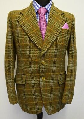 Ms2220 Hardy Amies Hepworths Men's Checked Brown Mix Vintage Blazer Size 38 Uk