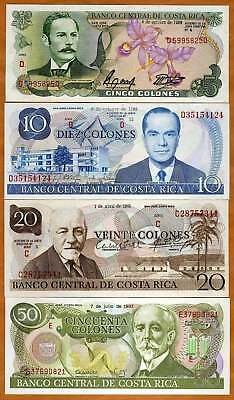 Costa Rica, Obsolete Set, 5;10;20;50 colones, UNC