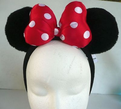 Authentic Disney Minnie Mouse Soft Padded Blk Ear Red Polka Dot Bow Headband Hat