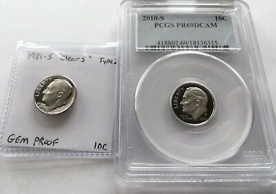 "1981-S Type 2 ""Clear S"" Gem Proof Dime, 2010-S PR69DCAM Dime"