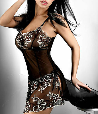 Black Lingerie Babydoll Chemise Nighties Plus Size 6 8 10 12 14 16 18 20 22 24