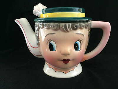 Vintage Py Japan Gay 90's Anthropomorphic Teapot Lady Face Collectible Rare Hard