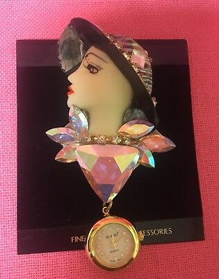 Bonetto Art Deco Lady Brooch Pendant Watch New Old Stock
