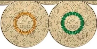 Rare 2016 $2 SET OF 2 OLYMPIC COINS AUSTRALIAN OLYMPIC RIO
