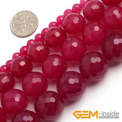 """Plum Jade Gemstone Faceted Round Loose Spacer Beads For Jewelry Making 15""""Strand"""
