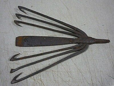 ANTIQUE WROUGHT IRON FISH-EEL GIG SPEARHEAD Cape Cod region. Wicked Old steel