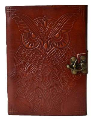 """5"""" x 7"""" Owl  leather blank book w/ latch-BOS-Book of Shadows-Spell Book"""