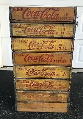 8 Vintage 1960's Yellow Coca Cola Coke Wood Soda Pop Crates Lot