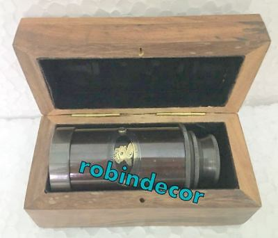 Antique Solid Brass Telescope King And Emperor Designer Wood Carry Case