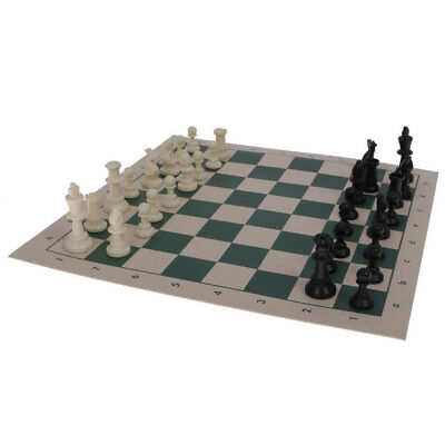 Chess 35.5cm Classic Game/Chessboard Roll Up Mat/32 Chessman/Pieces Set Outdoor