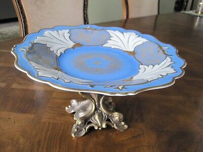 Pedestal Fruit / Cooky Tray, Solid Bronze Stand By L & L WNC, Porcelain Plate