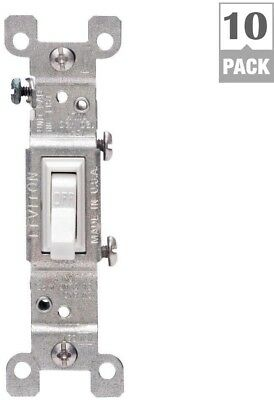 Leviton 15 Amp Single-Pole Switch, White (10-Pack) Light Switch Electrical New