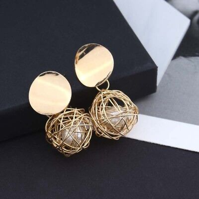 Women's Gold Plated Round Pearl Dangle Drop Earrings Stud Jewelry Fashion Charm