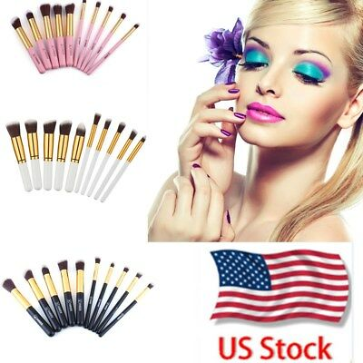 10Pc Makeup Brushes Tool Set Face Cosmetic Eyeshadow Powder Foundation Lip Brush