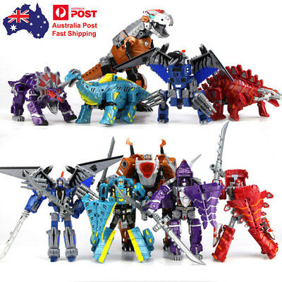 5 in 1 Transformers Dinosaurs Toy Dinosaurs Robots With Weapon For Kids Boys AU