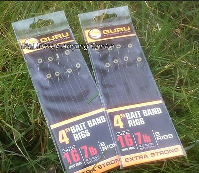 """Guru 4"""" Pre-Tied Barbless Method Hair Rigs With Bait Bands Size 16"""