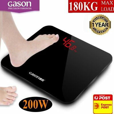 Digital Body Scale 180KG LCD Weight Scales Bathroom Gym Electronic CLEAR BT
