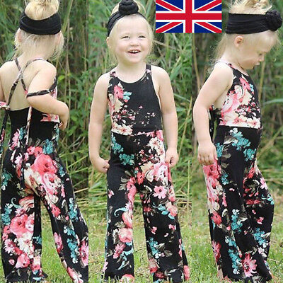 UK Newborn Baby Kids Girl Floral Romper Jumpsuit Bodysuit Cotton Clothes Outfits