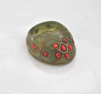Vintage indo persian mughal islamic jewelled green jade archer ring no arrow bow