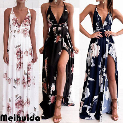 MODA DONNA MAXI Boho spiaggia di estate floreale sera cocktail party abito lungo
