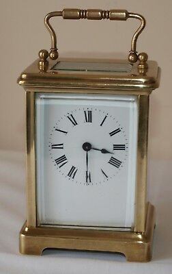 Vintage French Brass Carriage 8 Day Clock with Key