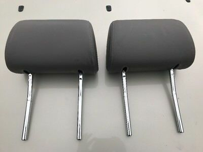 04 Audi A4 B6 Grey Leather Headrest Front Pair Genuine