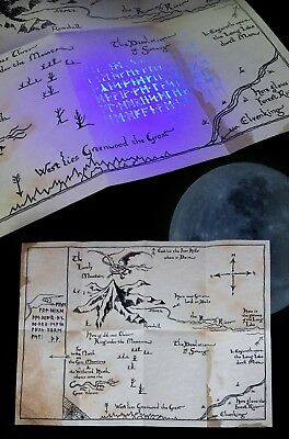 The Hobbit Thror's map UV moonrunes Thorin Smaug Parchment paper A4 size NEW