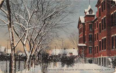 Winona Minnesota College Of St Theresa Winter Scene Antique Postcard K94696
