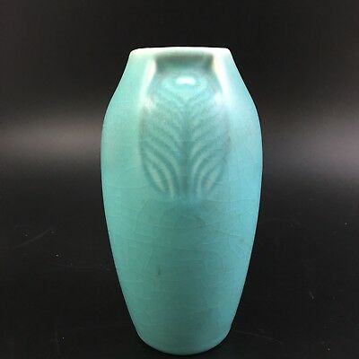 1928 Rookwood Pottery Studio Vase Blue Peacock Feather  2402
