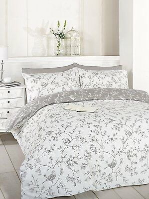 French Bird & Flowers Floral Toile White & Grey Single Duvet Cover Set