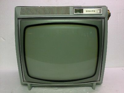 "Vintage 1963 Zenith 16"" BW Model K1620 Television Mint Green Cabinet, Working"