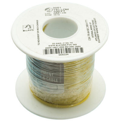 Alpha Wire 3051 YL005 UL1007 Hook Up Wire Yellow 22AWG (30.5m Reel)