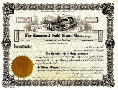 The Roosevelt Gold Mines of Colorado 19?? Stock Certificate