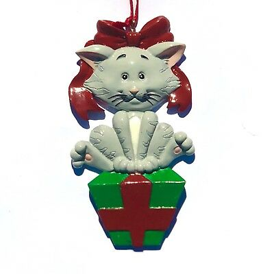Cat Christmas Ornaments Gray Grey Tabby Cat Lovers Gift for Christmas Tree
