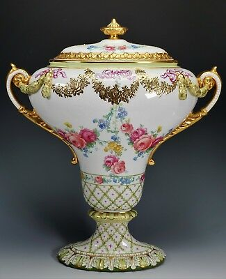"Large 16"" Tall Royal Bonn Porcelain Hand Painted Urn Centerpiece Gold Gilt Roses"