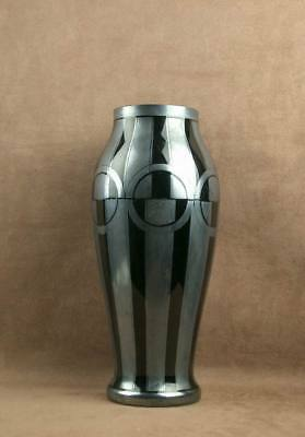 Important Vase Art Deco Verre Noir Decor Geometrique Signe Hem Michel Herman