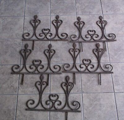 5 Pcs. Vintage Antique Cast Iron Garden Border Fencing