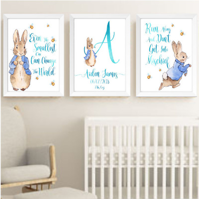 Baby Boy Peter Rabbit Beatrix Potter Nursery Decor Print Set, Bunny Art Prints
