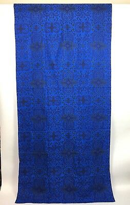 """Vintage 60s 70s Thai Silk Fabric Handwoven Blue Printed Floral  35"""" x 4 Yards"""