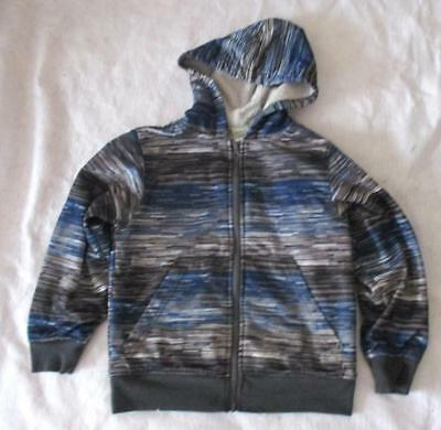 Boy Size 8 Hooded Jacket Fleece lined Zip Front Faded Glory Blue Print Polyester