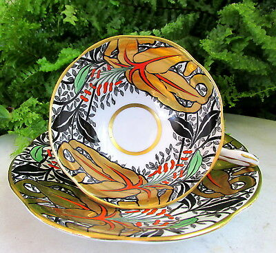 Pretty Vtg. Rosina Cup And Saucer In Bold Colors With Gold