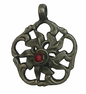 Antique Vintage Ethnic Silver Handmade Beautiful Art Pendant With Stone Jewelry