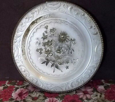 Embossed Metal Plates Floral England 2 Round Vintage Off White Gold Tan Shabby