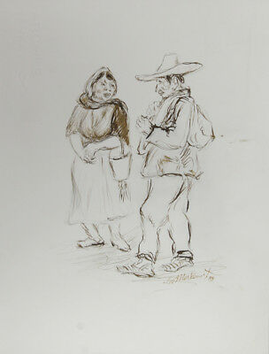 Ira Moskowitz, Couple in Mexico - I, Ink Drawing
